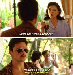 """""""Who's a ggod boy?"""" - Peggy and Howard #AgentCarter - Visit now to grab yourself a super hero shirt today at 40% off!"""