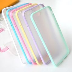 Fashion Slim Colorful TPU Frame Clear Case For iPhone 6 6S 4.7 Transparent Matte Hard Phone Back Cover For iPhone