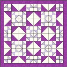 """Bouncing Betty quilt  This reminds me of a simple version of something Bonnie Hunter might do. 3"""" HST and 6"""" Hst, plus a 3"""" (3.5 cut) border = a 54"""" quilt. 1.75 Y White, 0.5 Y lavender, 1.25 Y purple"""
