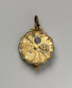 Jean Rousseau, Watch, 1650-1660  Case: Rock crystal and gilded brass  Dial: silver, enamel  Metropolitan Museum of Art
