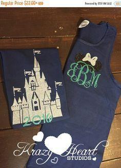 SHOP SALE Castle Disney Tank - Minnie Ears Monogram - Navy and Mint Glitter Vinyl - Comfort Color - Disney Shirt - Castle Monogram