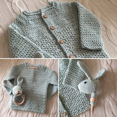 Kraamkadootje  #wolplein patroon vestje #lanagrossa #stipenhaak rammelaar #mez11 label Crochet Baby, Knit Crochet, Chrochet, Pullover, Knitting, Children, Sweaters, Clothes, Fashion
