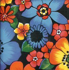 Flora on Black Oilcloth Fabric / oilclothalley.com