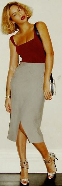 Who made Beyonce Knowles' red tank top and gray skirt?