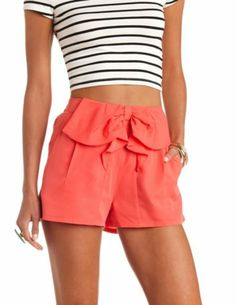 Bow-Topped High-Waisted Shorts: Charlotte Russe