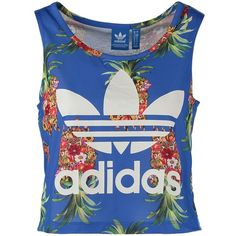 adidas Originals FRUTAFLOR FARM Top (€29) ❤ liked on Polyvore featuring tops, shirts, adidas, blue, blue top, collar top, collared shirt, adidas originals and round neck shirt