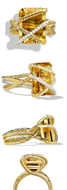 David Yurman Cable Wrap Ring with Champagne Citrine & Diamonds in Gold