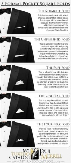 5 Formal Pocket Square Folds - MyTuxedoCatalog.com