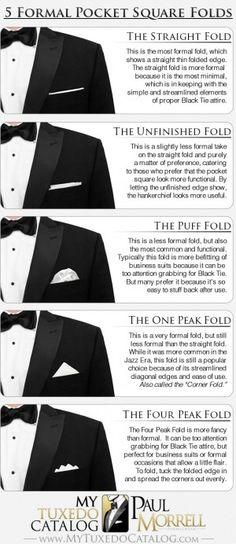 5 Formal Pocket Square Folds - MyTuxedoCatalog.com