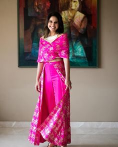 Zara in a 'Trouser Lehenga' with pearl embroidered bustier and an off-shoulder double wrap blouse in Cerise Pink. A fuss-free skirt &… Indian Fashion Dresses, Indian Gowns Dresses, Dress Indian Style, Indian Designer Outfits, Indian Outfits, Designer Dresses, Designer Clothing, Hijab Fashion, Style Fashion