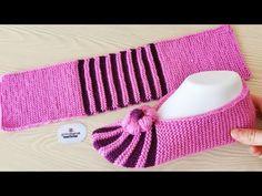 Learn to very easy knitting booties - Knitting Socks Baby Knitting Patterns, Knitting Yarn Diy, Crochet Motif Patterns, Knitting Socks, Crochet Slipper Boots, Knitted Slippers, Crochet Baby Booties, Crochet Shoes, Knit Slippers Free Pattern