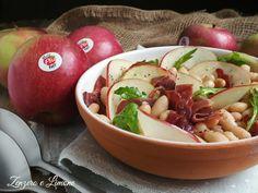 Insalata con cannellini, mela e prosciutto crudo