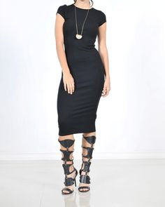Obsessed To Dress - Cap Sleeve Midi Bodycon Dress - Black, $26.99 ObsessedToDress.com