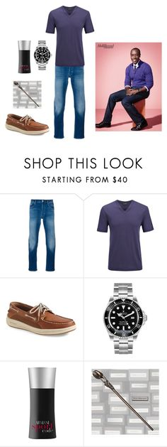 """Kingsley - Chained to the Rhythm"" by elizabeth-lamp ❤ liked on Polyvore featuring STONE ISLAND, Joseph, Sperry, Rolex, Giorgio Armani, men's fashion and menswear"