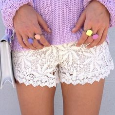 Cream Crochet Shorts with lilac sweater