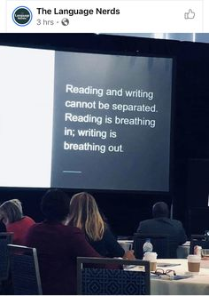 Reading is breathing. Writing is breathing out. Writing Advice, Writing Help, Writing Prompts, Writer Quotes, Book Quotes, Teacher Quotes, Writing Motivation, Writers Write, Breath In Breath Out