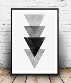 Black Art, noir décor, Triangle d'Art, estampes, Art pariétal, Black Wall Art, impression géométrique, art minimaliste, aquarelle art imprimé, Simple, décor