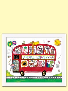 Rachel Ellen Designs. Animal Express on a red London Bus! This limited edition print is full of fun, brightness and lots of details.  This makes a great Christening gift!