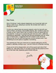 This Printable Letter From Santa To A Little Boy Mentions How
