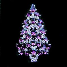 Chic Christmas Gift Tree Brooch Pin Purple Swarovski Crystal