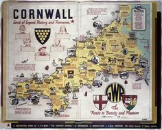'Cornwall, The Route to Beauty and Pleasure', GWR poster, c Sayer, J P Cornwall Map, Devon And Cornwall, Train Posters, Railway Posters, British Travel, Travel Uk, St Just, National Railway Museum, Vintage Travel Posters