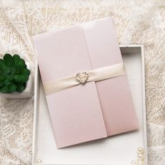 inexpensive spring pink flower heart rhinestone pocket wedding invites EWPI175 as low as $2.29 |