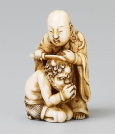 A Tokyo school ivory netsuke of a priest and an oni, by Tomochika. Late 19th century, Auktion 1061 Asiatische Kunst, Lot 816