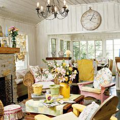 characterized by floral and other vintage fabrics; a feminine color palette of pale pastels, whites, creams, and off-whites; flea market furnishings--often with distressed, peeling surfaces; comfortable slipcovered seating; and romantic accessories such as candles, flowers, wrought iron or crystal chandeliers, and pretty oil paintings