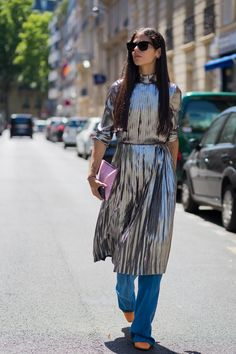 The Best Way to Wear a Metallic Dress This Weekend