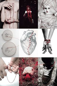 punkhowlett:  INSPO→The Red String of Fate  The red string of fate, also referred to as the red thread of destiny, red thread of fate, and other variants, is an East Asian belief originating from Chinese legend and is also used in Japanese legend. According to this myth, the gods tie an invisible red string around the ankles of men and women who are destined to be soul mates and will one day marry each other. Often, in Japanese culture, it is thought to be tied around the little ...