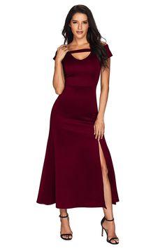 5d7186fa08 Burgundy Cold Shoulder Front Slit Flare Maxi Dress #RashGuards #Swimwear  #beachdress #womencloths
