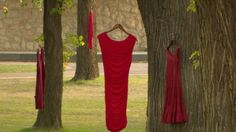 Several red dresses are hanging in spot at the University of Saskatchewan this week to remind people of missing and murdered Aboriginal women. It's an art project by Winnipeg artist Jaime Black. University Of Saskatchewan, Textiles, Art Textile, Indigenous Art, Criminal Justice, School Resources, Aboriginal Art, Walking, Formal Dresses