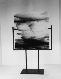 Modern Abstract Art Glass Sculpture Black and by coastalartglass