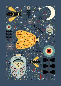 Midnight Bugs  Art Print by Carly Watts