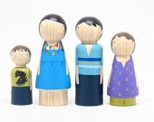 Fair Trade- A Set of Hand-Painted Wooden Dolls for your Modern Doll House, comes in a metal tin