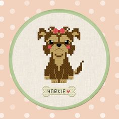 Cute Yorkshire Terrier. Yorkie Personalizable Dog Name Cross Stitch Pattern PDF File