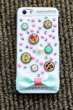 White Swarovski Crystal & Button iPhone by buttonsbowsandbling, $19.99