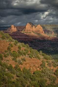Sedona - Airport Road view - Thumb Butte and the Bench. Vortex