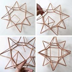 Complete First Side for DIY Copper Moravian Star Pendant Light Fixture - All About Decoration Geometric Star, Geometric Shapes, Moravian Star Light, Star Lanterns, Star Diy, Copper Decor, Pendant Light Fixtures, Wire Pendant Light, Pendant Lamps