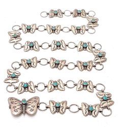 Vintage Native American Sterling Silver Turquoise Butterfly Concho Belt
