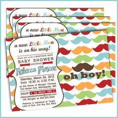 Mustache Bash Baby Shower Invitations Little Man by LullabyLoo, $18.00....LOVE LOVE LOVE!!!!