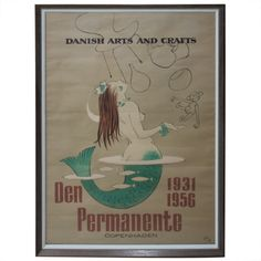 Original 1956 Danish Arts & Crafts Exhibition Poster Signed