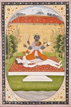 "hinducosmos: ""Tripurasundari Illustration from a Mahavidya series Opaque watercolor on paper, Kangra, century "" Krishna Hindu, Hindu Deities, Shiva, Indian Goddess, Durga Goddess, Mughal Paintings, Indian Paintings, Art Indien, Denim Art"
