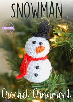 Snowman Crochet Ornament | 25 Days of Christmas Traditions Ornament Crochet-A-Long | Free Pattern from Sewrella