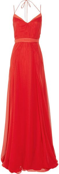 JASON WU  Halterneck Silk-chiffon Gown  Flame-red silk-chiffon. Halterneck, coral satin trims, fully lined. Tie fastening at halterneck, concealed zip.
