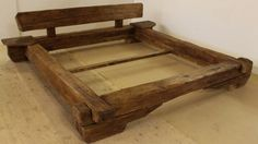 bed made from old wood beams #upcycle