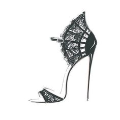 Have a glimpse at the sketch of the Carole lace sandal Shoe Sketches, Dress Design Sketches, Fashion Design Sketchbook, Fashion Sketches, Fashion Illustration Shoes, Fashion Drawing Tutorial, Creative Shoes, Fashion Figures, Fashion Wall Art