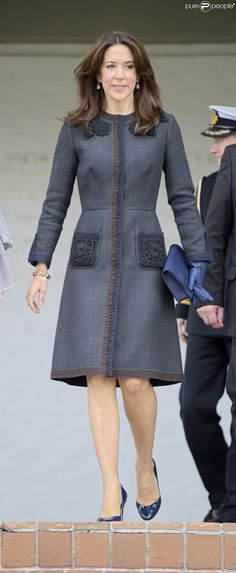 Navy and grey coat dress on Crown Princess Mary of Denmark.
