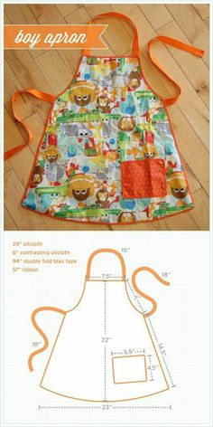 Trendy sewing patterns for kids apron Sewing Hacks, Sewing Tutorials, Sewing Crafts, Sewing Projects, Knitting Projects, Sewing Ideas, Sewing Art, Sewing Aprons, Sewing Clothes