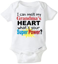 49490bf46 I can melt my Grandma's heart baby onesie Grandma onesie funny baby saying  funny Grandma Shirt baby shower gift outfit baby clothes